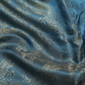 Viscose Paisley Lining: Light Blue/ Gold C21