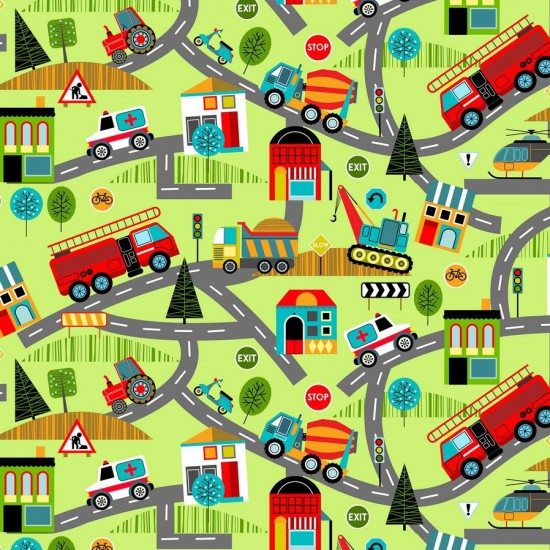 Around Town Road Map Fabric Focus