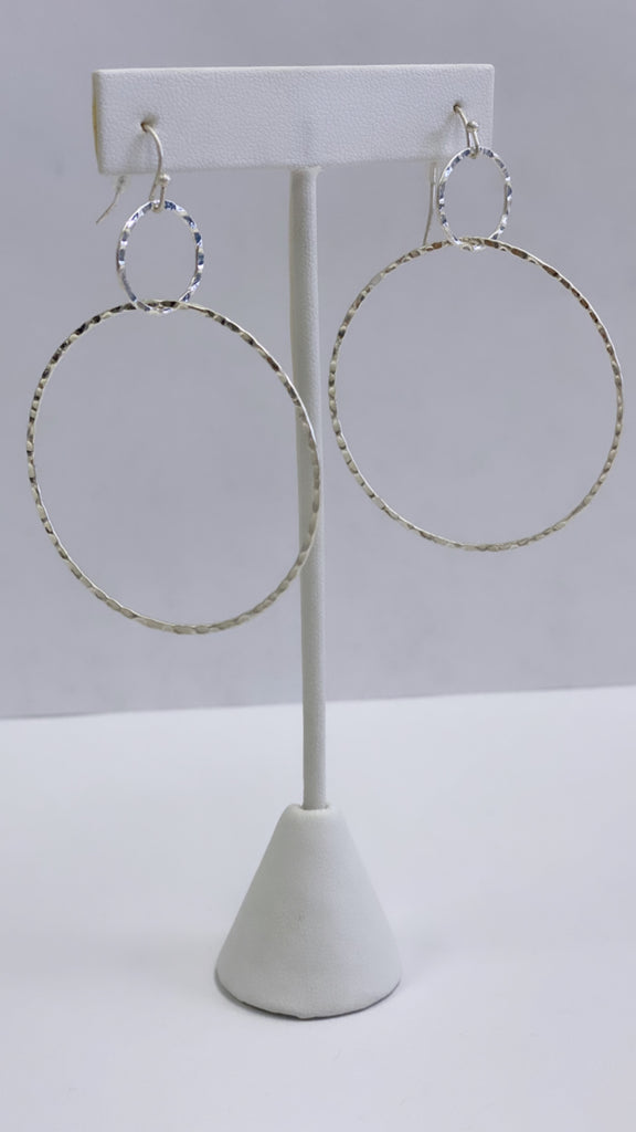 Hammered Double Hoop | Silver