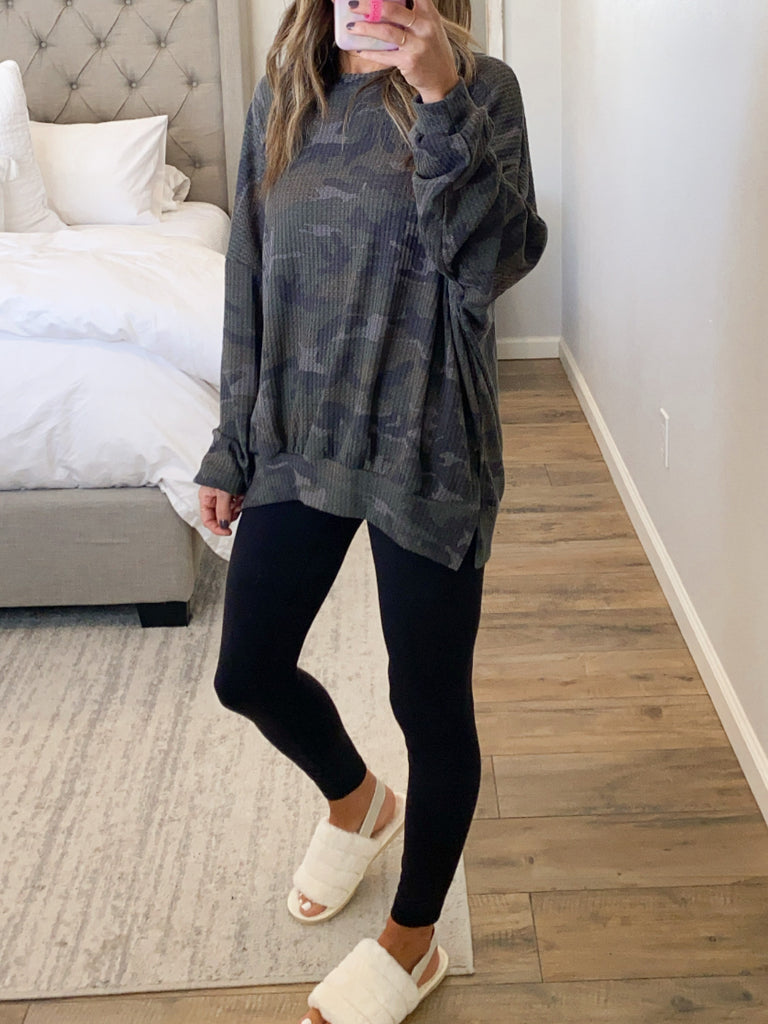 Comfy Camo Waffle Knit Top | +Plus Available