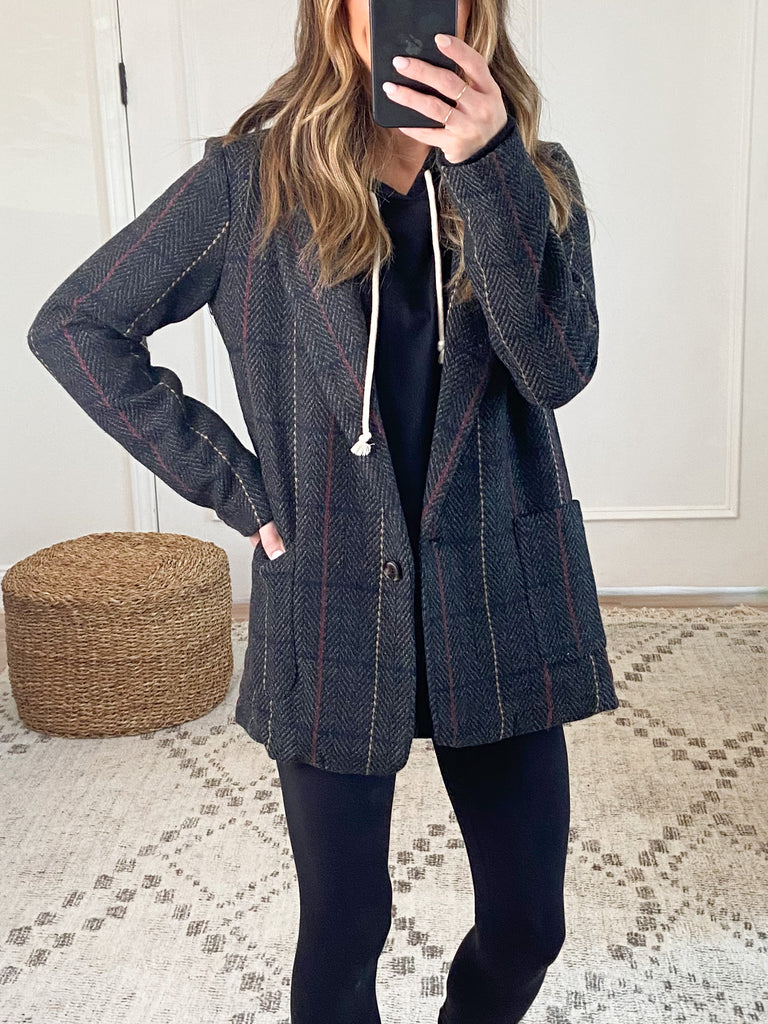 Larsen Plaid Blazer | Black | FINAL SALE