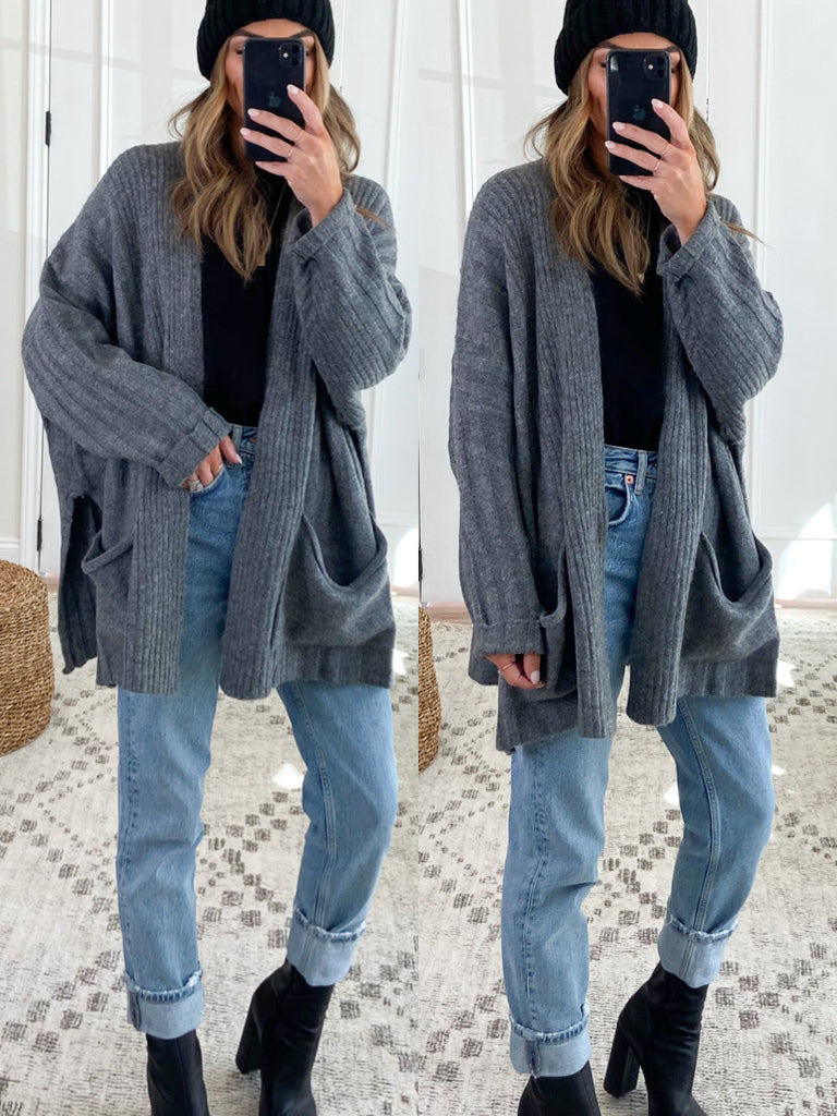 Shop Girl Ribbed Cardigan | Charcoal