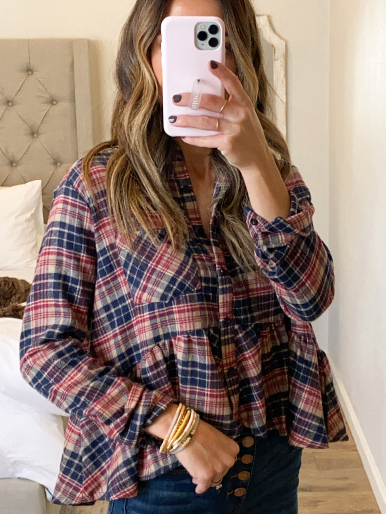 Plaid Peplum Top