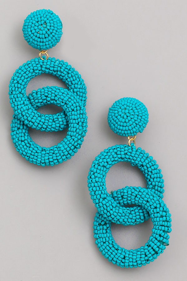 Beaded Link Earrings | Teal