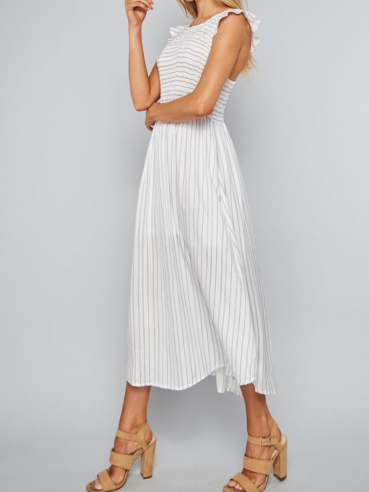 Smocked Midi Dress | White