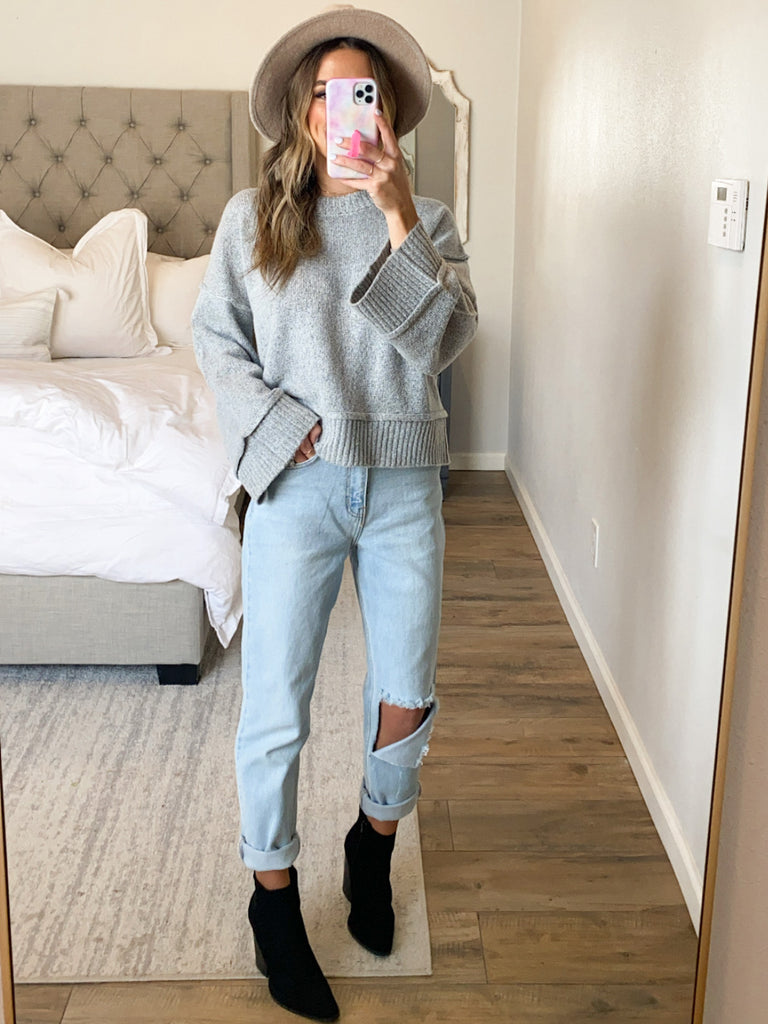 Audrina Cropped Sweater | Heather Grey
