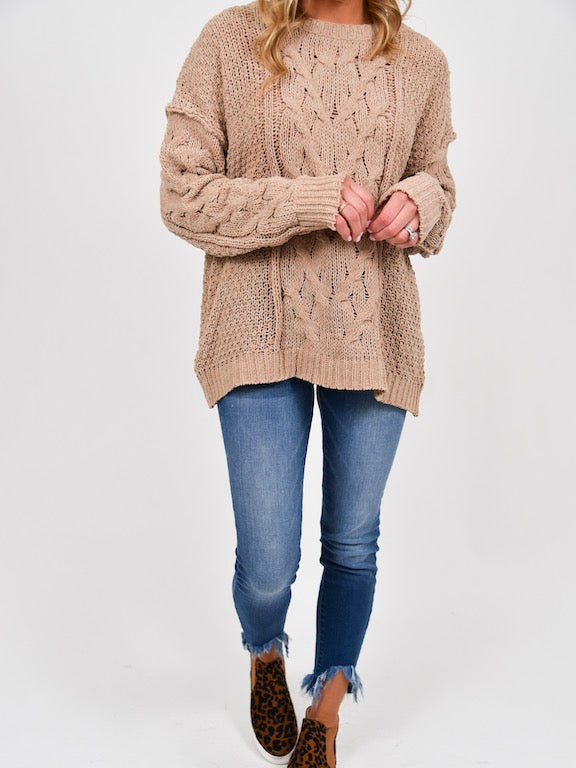 Sutton Cable Knit Sweater | Taupe