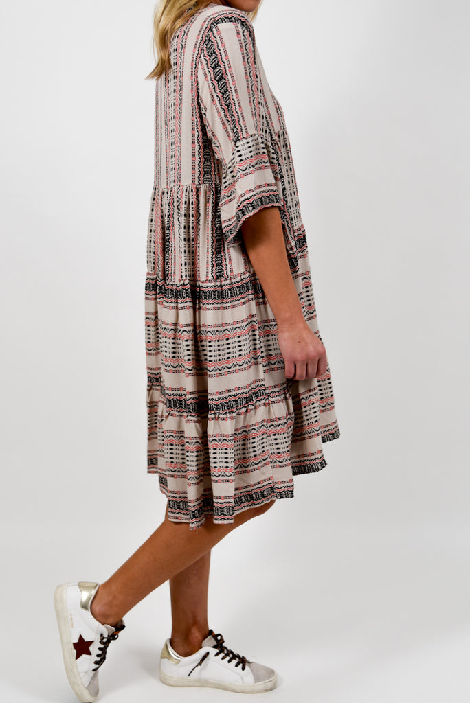 Hattie Flounce Shift Dress | Khaki | +Plus Available