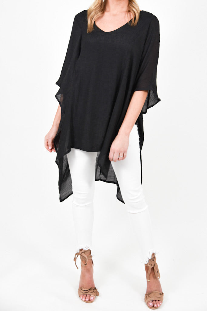 Birdie Caftan Top | Black