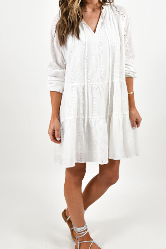 Janie Eyelet Dress | White | FINAL SALE