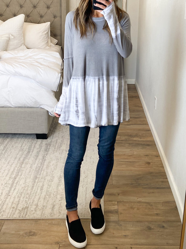 Stevie Ombre Peplum Top | Grey