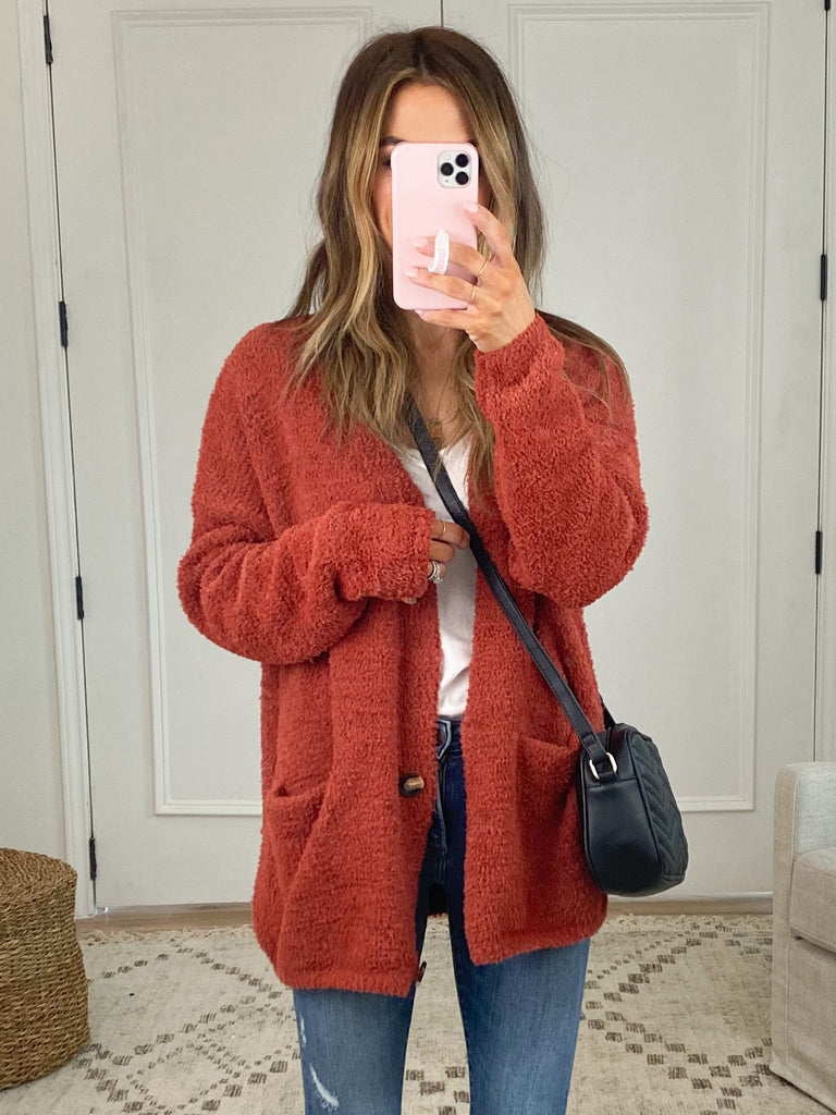 The Aniston Cardigan | Rust