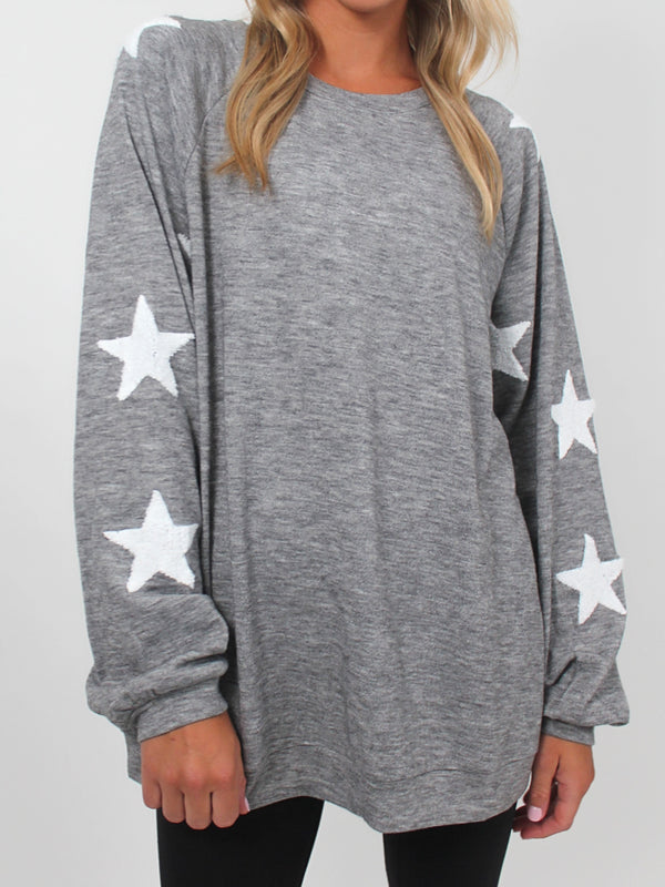Star Patch Pullover | Heathered Grey