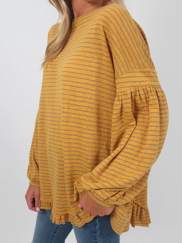 Bella Striped Ruffle Top