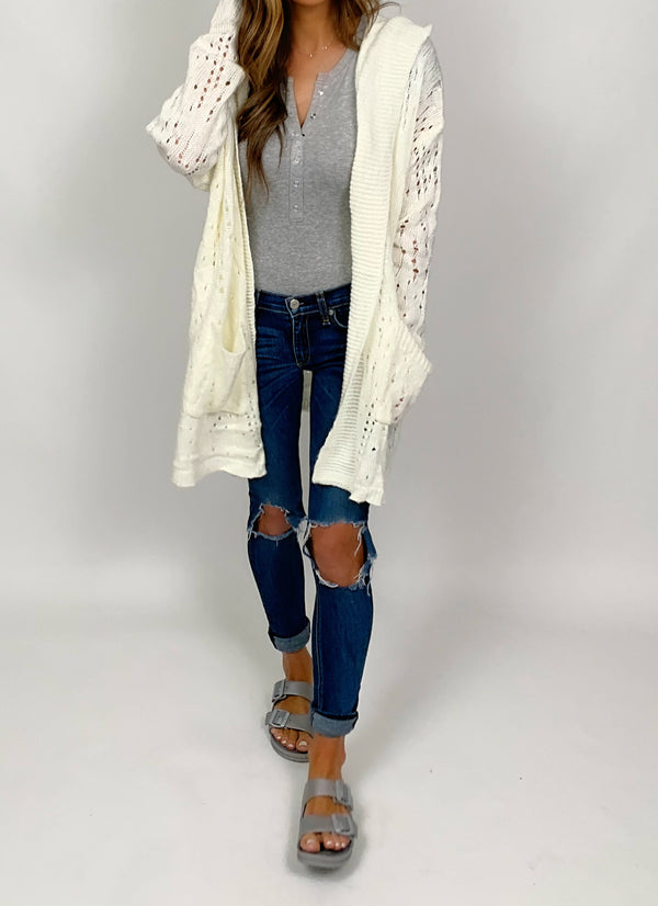 Distressed Hooded Cardi