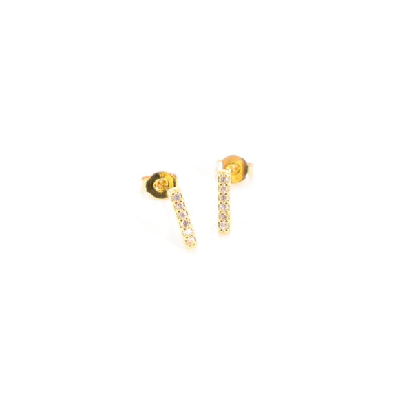 Diamond Bar Stud Earrings | Gold