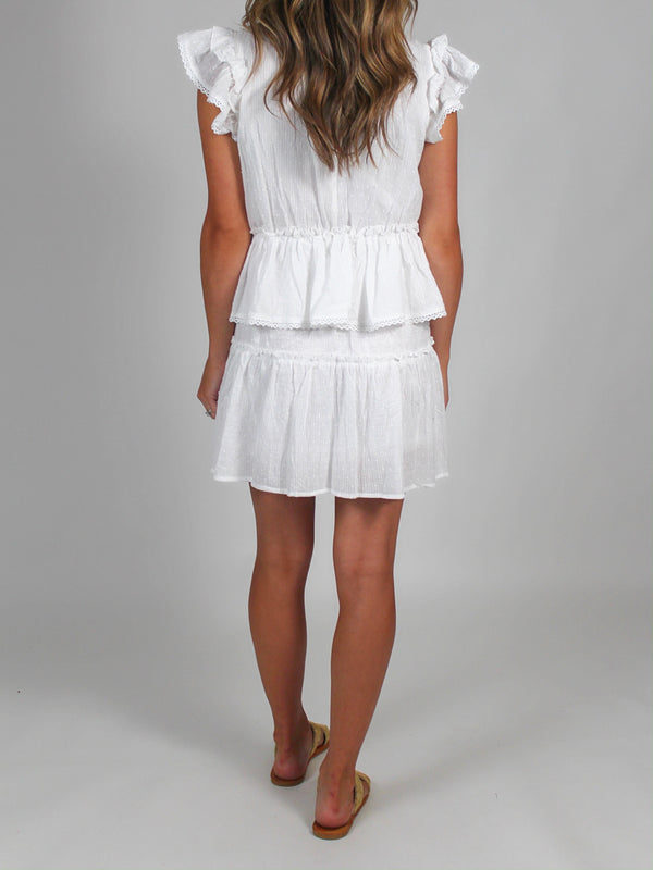 Layla Ruffle Dress | White | FINAL SALE