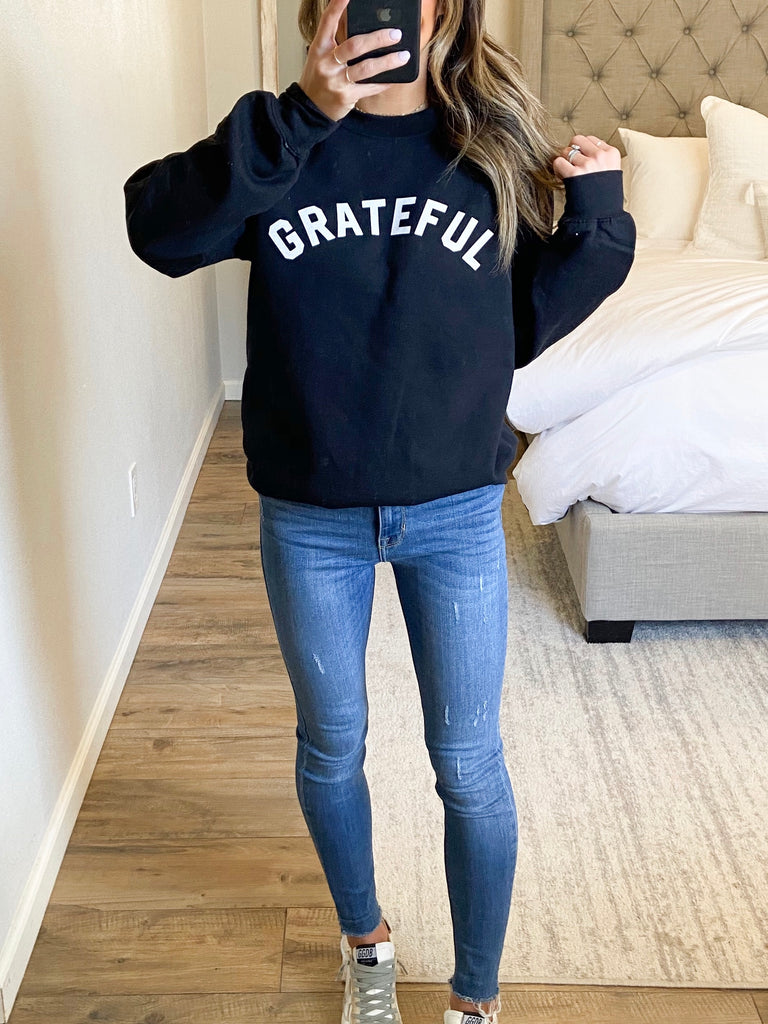 Grateful Sweatshirt | Black | +Plus Available | FINAL SALE