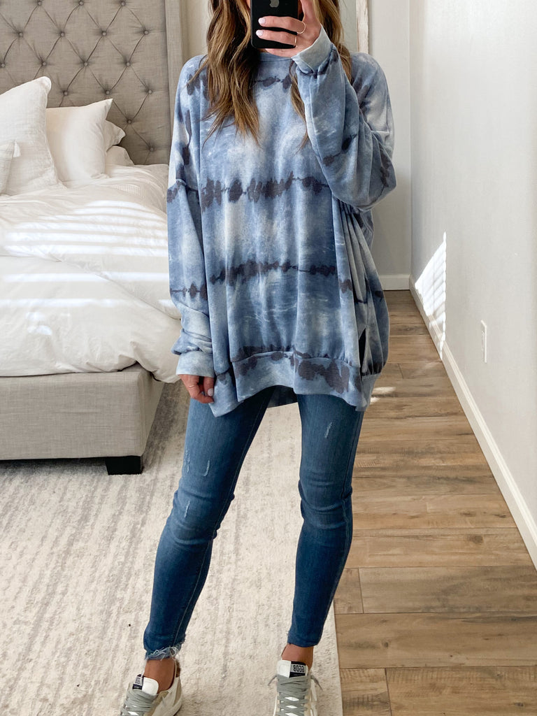 Isla Oversized Top | Dusty Blue | +Plus Available
