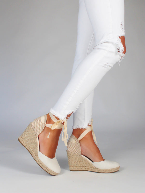 Lace Up Espadrilles Wedges | Ivory