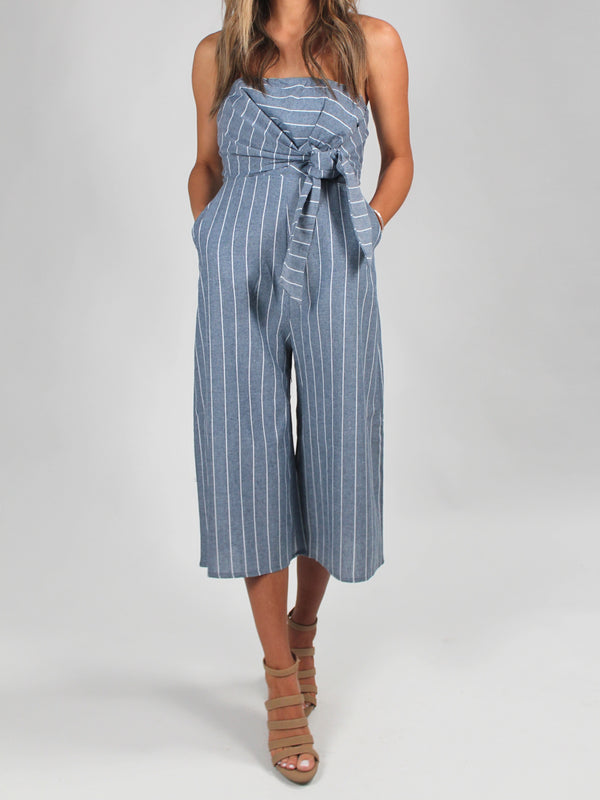 Have It All Pinstripe Jumpsuit FINAL SALE