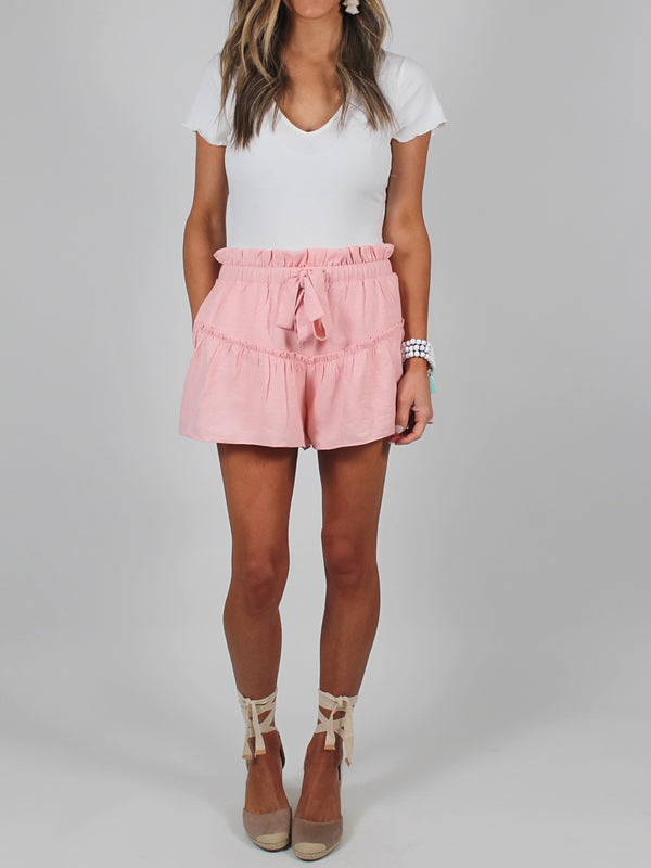 Pink Pocket Ruffle Shorts