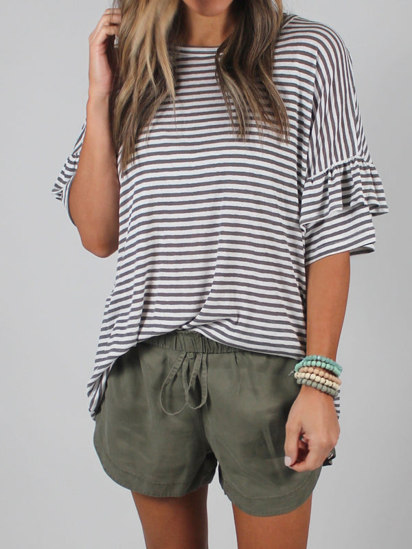 Better Together Stripe Ruffle Sleeve Tee