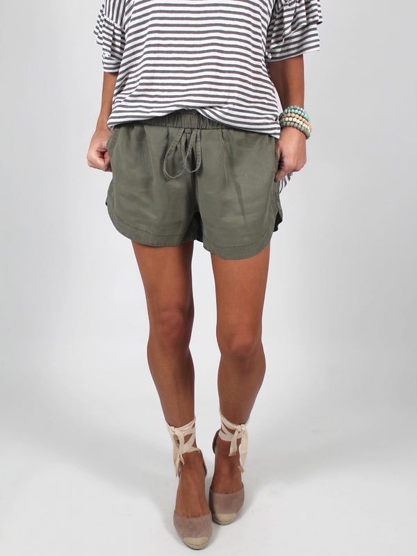 On My Way Drawstring Shorts | Olive