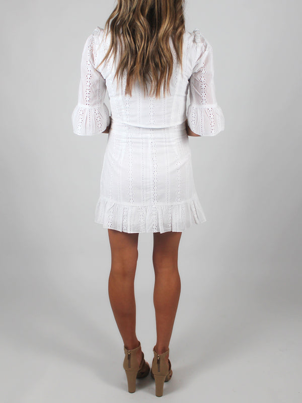 White Eyelet Wrap Skirt