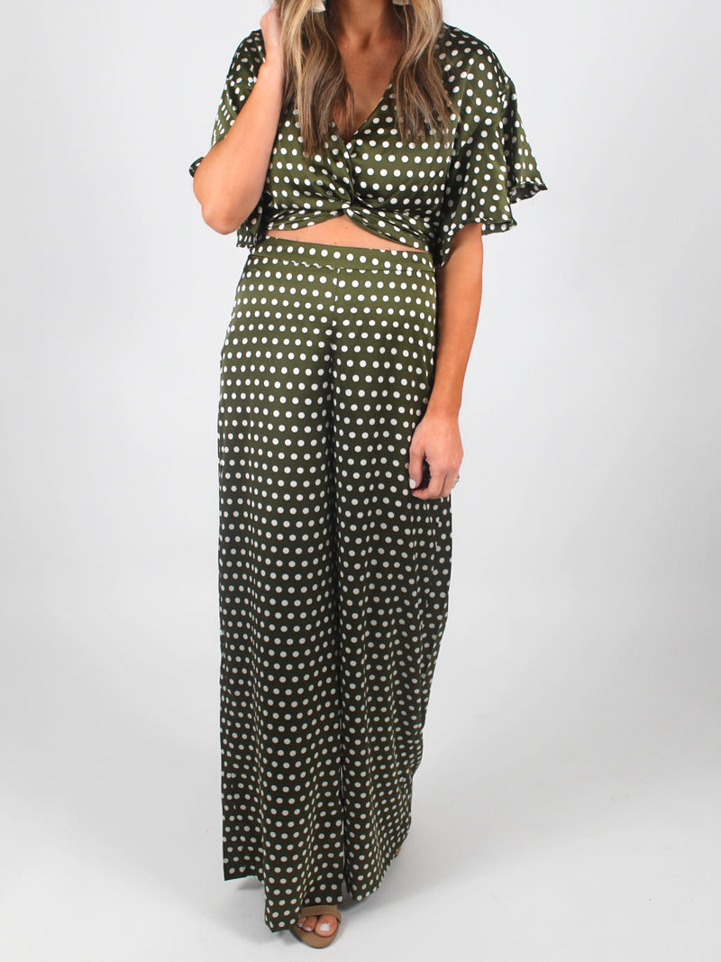Night Out Polka Dot Pants | Olive FINAL SALE