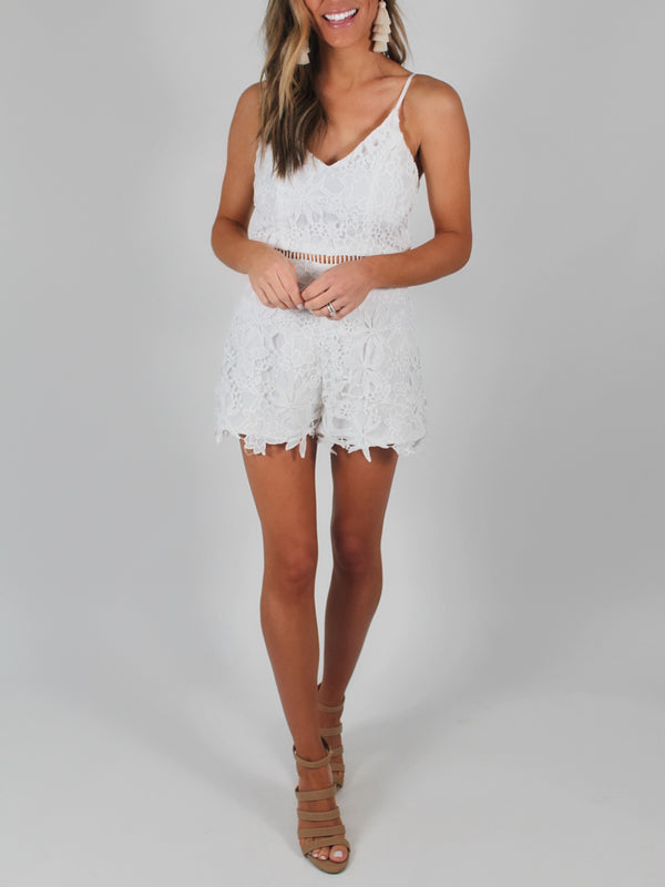 Dainty White Lace Romper