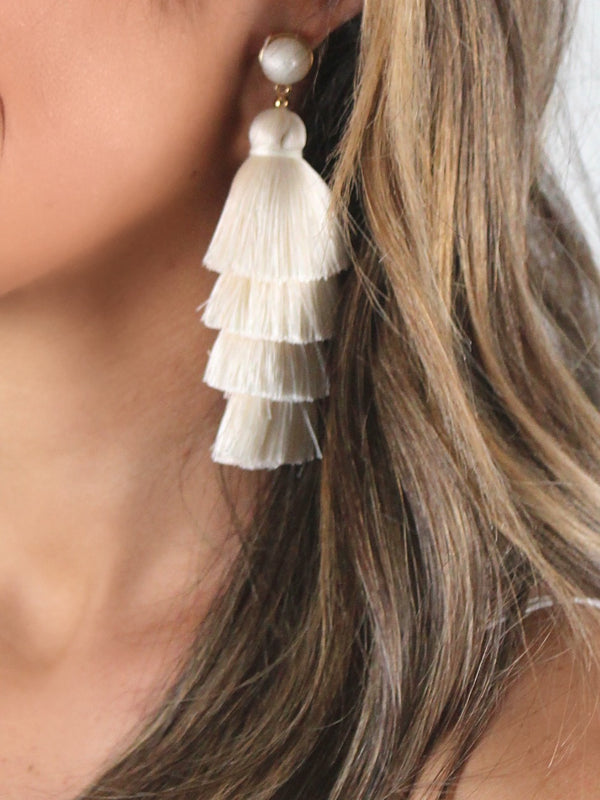 Stacked Tassel Earrings | Cream | RESTOCK!