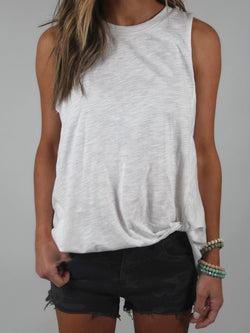 Cotton Twist Tank | White
