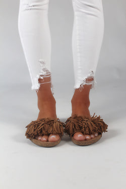 Wild Thing Fringe Suede Slides | Tan FINAL SALE