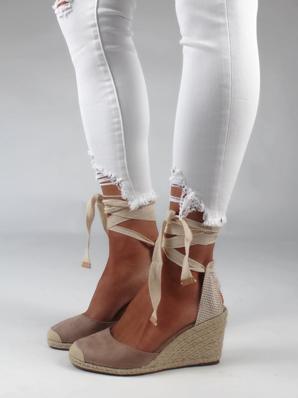 Esme Lace Up Espadrille Wedges | Taupe | FINAL SALE