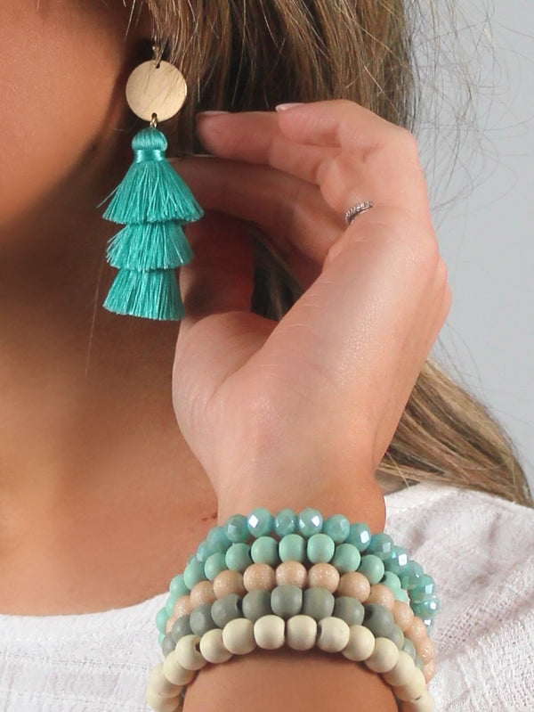 Playa Tassel Earrings | Teal