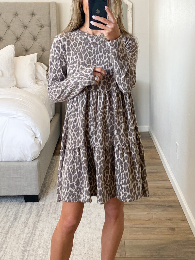 Sol Leopard Tiered Dress