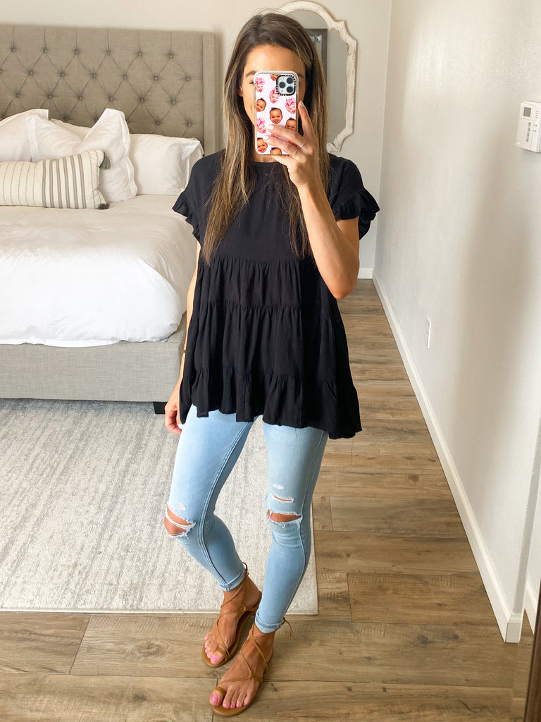 Happy Day Babydoll Top | Black | +Plus Available