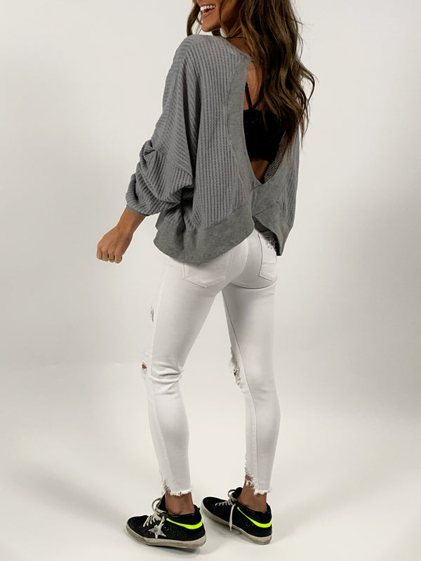 Open Back Waffle Knit Top | Silver