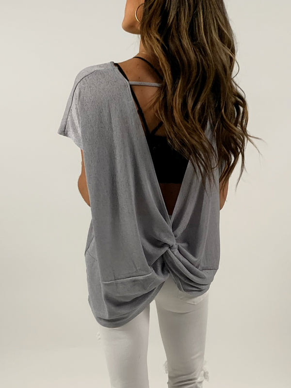 Grey Open Back Airy Top