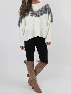 Fringe Knit Sweater | Cream