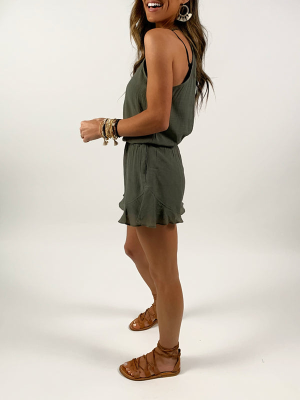 Open Back Romper | Olive