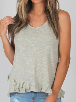 Ruffle Cotton Tank | Heather Olive