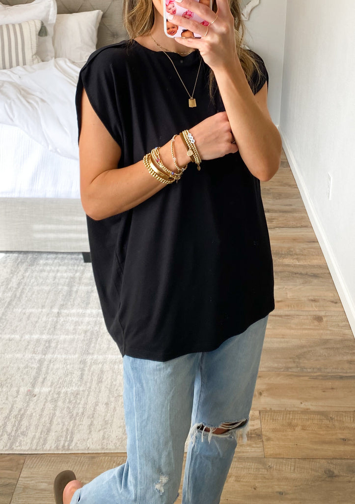 Piper Cap Sleeve Tee | Black