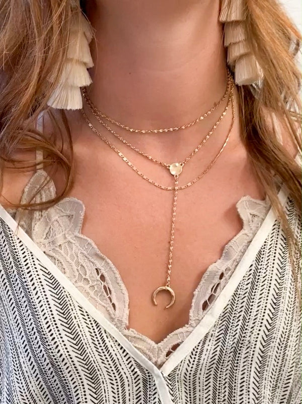 Gold Crescent Layered Necklace