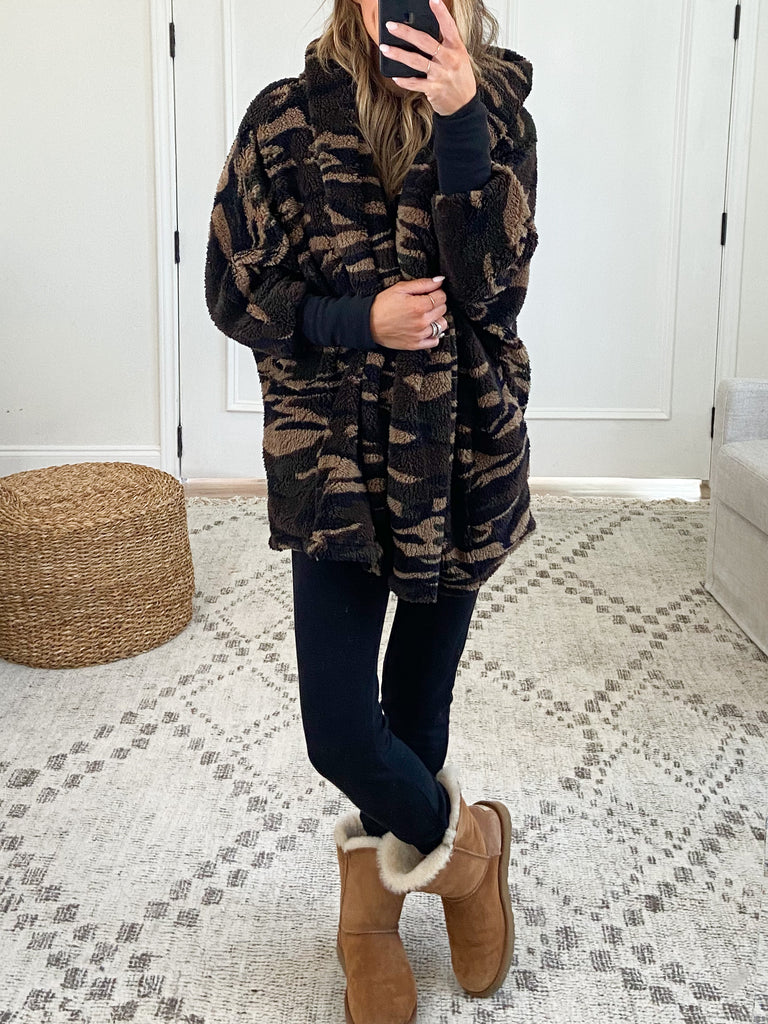 Open Front Camo Teddy Jacket