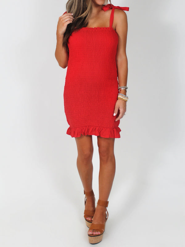 Señorita Smocked Dress | Red | FINAL SALE