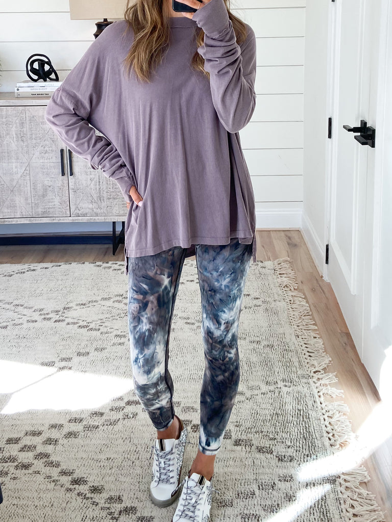 Allix Mineral Wash Long Sleeve | Eggplant