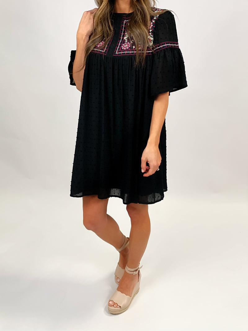 Embroidered Dress | Black