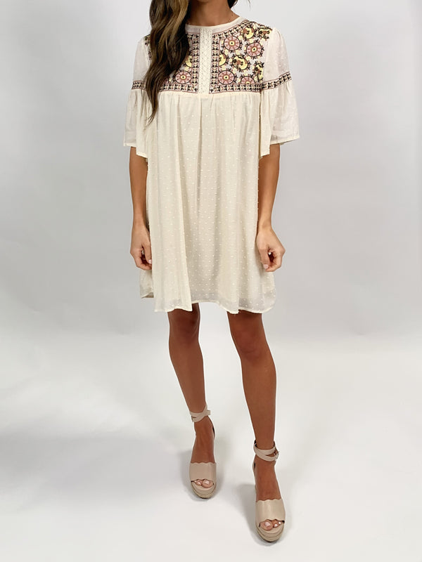 Embroidered Dress | Cream